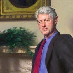 The portrait features a bluish shadow of the Lewinsky dress to the left of Clinton, over the fireplace.  The Associated Press