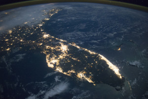 The Florida peninsula at night, as seen from the International Space Station in October 2014.