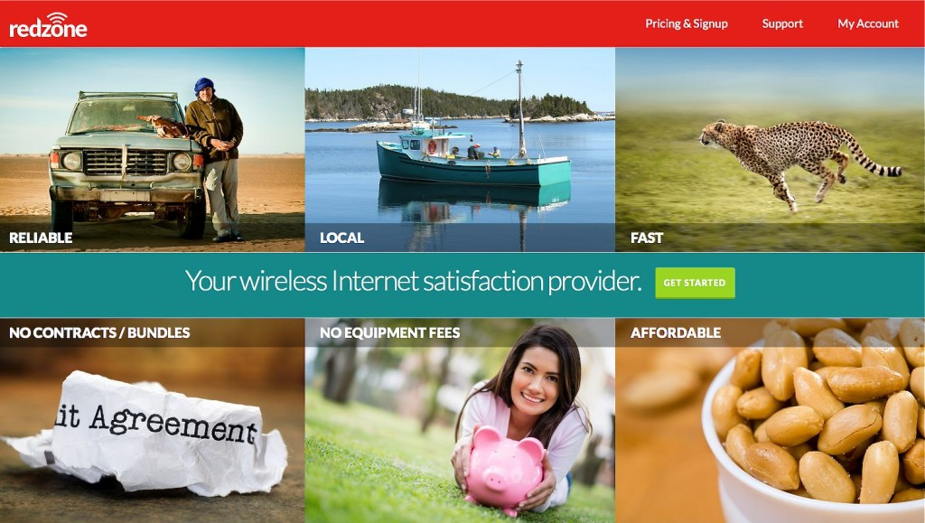"The homepage of Redzone Wireless LLC's website touts selling points of the company's broadband service, including ""No Contracts/Bundles"" and ""No Equipment Fees."""