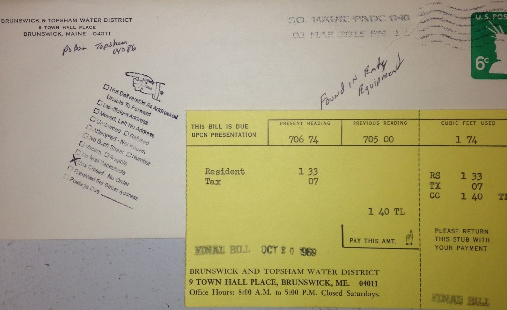A copy of the 1969 bill returned to the Brunswick and Topsham Water District last week, on March 10, 2015. A handwritten note under the postmark says