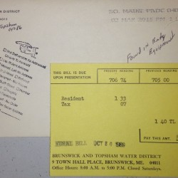 """A copy of the 1969 bill returned to the Brunswick and Topsham Water District last week, on March 10, 2015. A handwritten note under the postmark says """"found in equipment."""""""