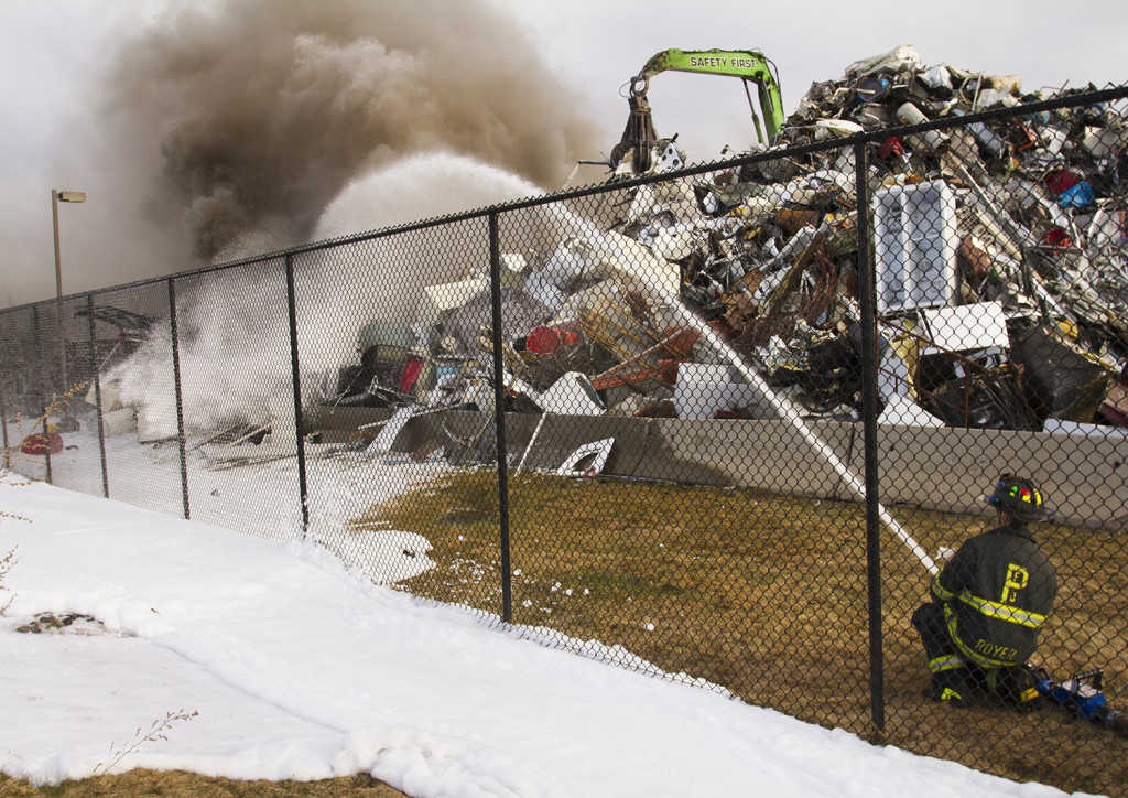 Portland Firefighters Douse Significant Fire In Huge Pile Of Scrap - Schnitzer scrap yard