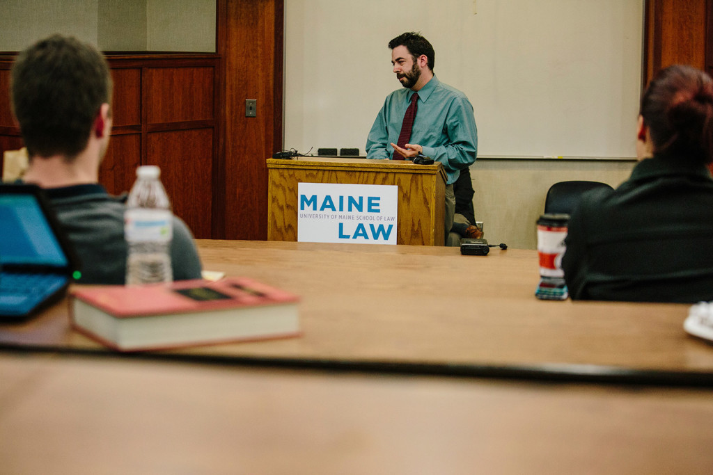 Scott Gagnon from Smart Approaches to Marijuana speaks during the Maine Law Federalist Society debate on marijuana reform.
