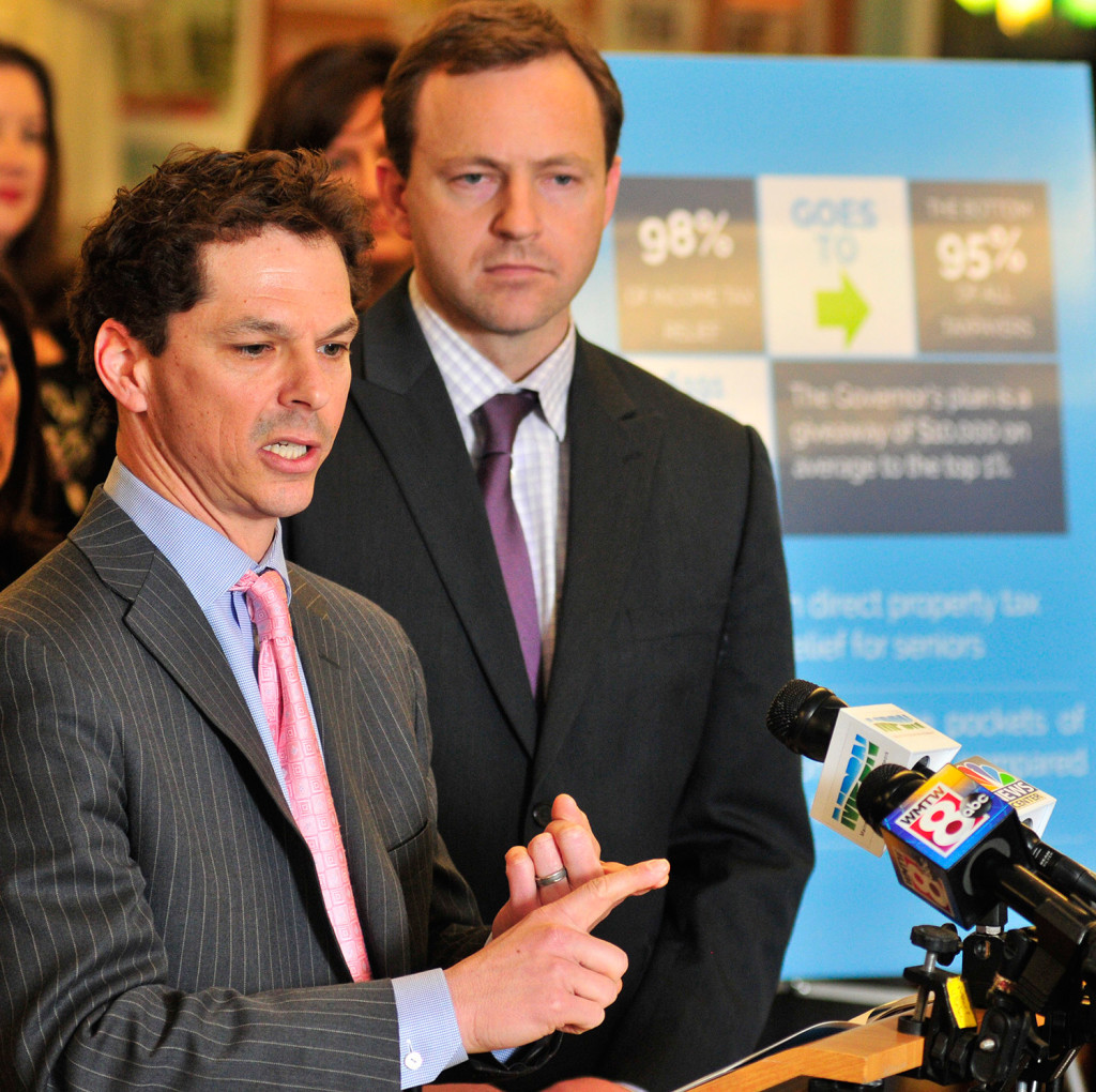 Senate Democratic leader Justin Alfond, D-Portland, left, and House Speaker Mark Eves, D-North Berwick, talk about the new Democratic budget plan during a news conference Thursday at Cony High School in Augusta.