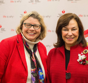 Dr. Dora Anne Mills and Dr. Danielle Ripich of the University of New England. Dr. Ripich was honored with a 2015 Crystal Heart Award at the American Heart Association's Go Red For Women Luncheon.