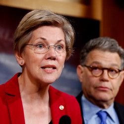 Sen. Elizabeth Warren, D-Mass., left, insists she is not a candidate for president, but both parties have factions that would like to see her in the race.