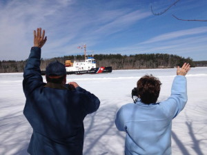 The U.S. Coast Guard cutter Thunder Bay breaks ice on the Kennebec River on Wednesday morning near Richmond.