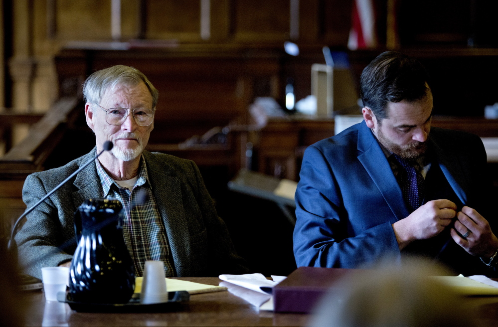"Gabe Souza/Staff Photographer Merrill ""Mike"" Kimball, 72, of Yarmouth appears in Cumberland County Court on Friday for jury selection in his murder trial. Kimball allegedly shot and killed 63-year-old Leon Kelley of Georgetown in October 2013. At right is defense attorney Andrew Graham."