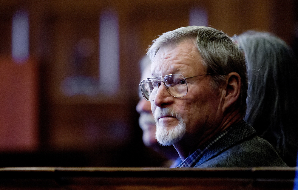 "Merrill ""Mike"" Kimball, 72, of Yarmouth appears in Cumberland County Court on Friday for jury selection in his trial for the shooting at Brown's Bee Farm on Honey Comb Drive in North Yarmouth."
