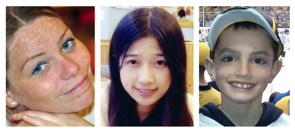 Krystle Campbell, 29, a restaurant manager, left; Lingzi Lu, 23, a Boston University graduate student from China; and Martin Richard, 8, were killed in the Boston Marathon bombings. MIT police officer Sean Collier was shot to death by the Tsarnaev brothers days later as they tried to elude a massive police search.
