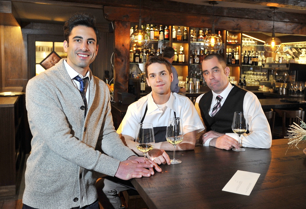 Owner Benjamin Goldman, left, executive chef Chris Wilcox and director of operations and maitre d' Brent Bushong opened The Velveteen Habit in Cape Neddick on Wednesday.
