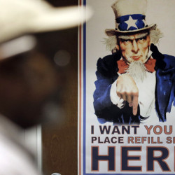 An Uncle Sam poster greets clients at a veterans center in Fayetteville, N.C., an area with high patient wait times.