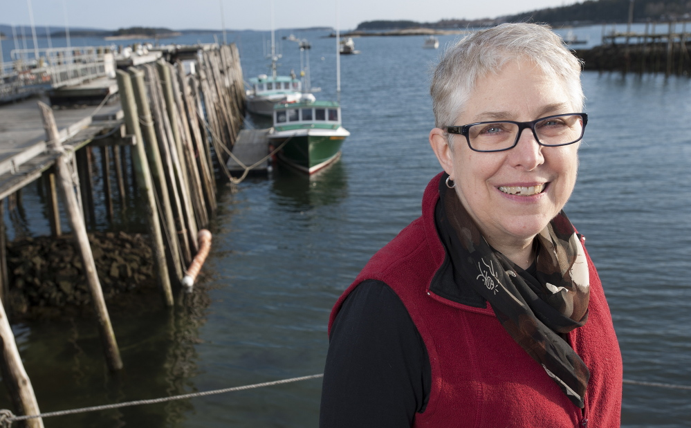 Robin Alden, executive director of the Penobscot East Resource Center, at the Stonington waterfront.