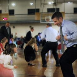 SOUTH PORTLAND, ME - MARCH 21: Scott Corbett and his daughter Nia, 6, at the father/daughter dance in South Portland. (Photo by Derek Davis/Staff Photographer)