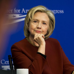 Hillary Rodham Clinton listens during an event hosted by the Center for American Progress and the America Federation of State, County and Municipal Employees in March.