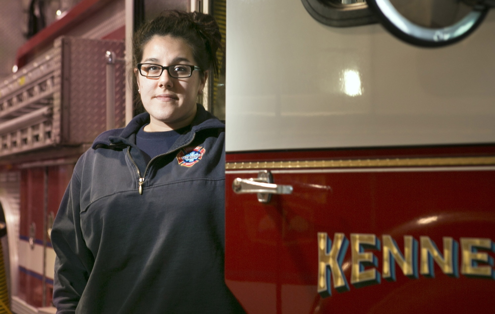 As part of a specialized program for students in fire sciences, Breeanna Zoidis, 24, of Casco lives at the Kennebunk Fire Department's central station while she attends Southern Maine Community College in South Portland.