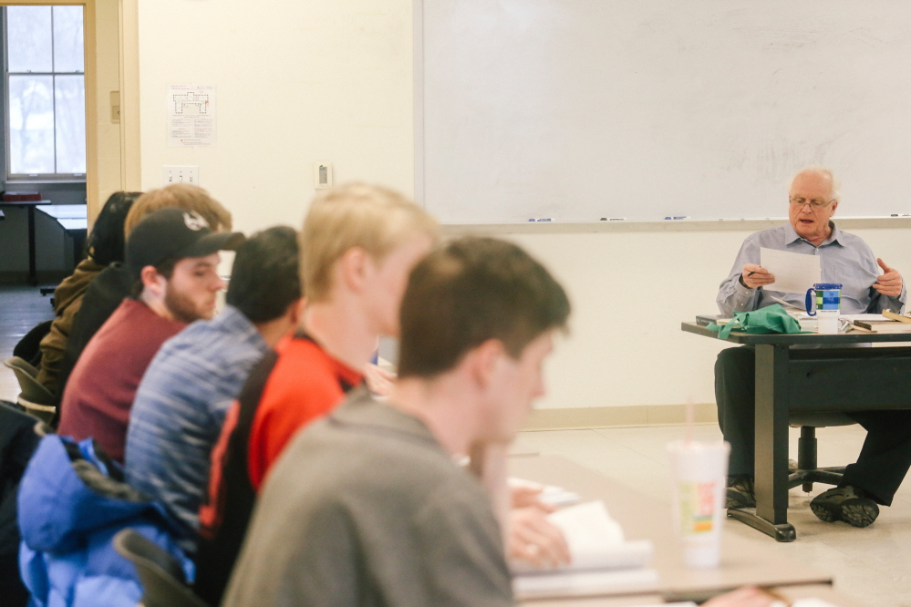 English professor Kevin Sweeney speaks to his literature class at Southern Maine Community College in South Portland. Currently, about one in three students is enrolled in liberal arts programs, such as English and history, lower division classes that will transfer to a four-year school. State education leaders are working to simplify the transfer process as well.