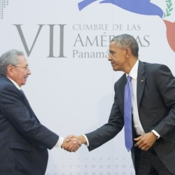 President Obama shakes hands with Cuban President Raul Castro during their meeting at the Summit of the Americas in Panama City, Panama, on Saturday. The leaders of the United States and Cuba held their first formal meeting in more than half a century Saturday, clearing the way for a normalization of relations that had seemed unthinkable to both Cubans and Americans for generations.