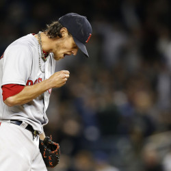 Boston Red Sox starting pitcher Clay Buchholz reacts during the first inning against the New York Yankees in New York on Sunday. The Yankees scored seven runs in the inning and went on to win 14-4. The Associated Press