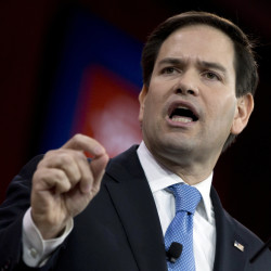 In this Feb. 27, 2015 file photo, Sen. Marco Rubio, R-Fla. speaks in National Harbor, Md. When Rubio launches his Republican presidential campaign Monday, he'll have to answer a simple question.