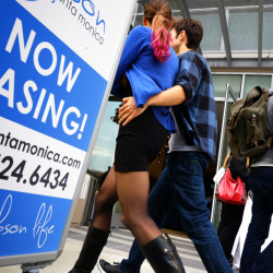 Visitors arrive for the March 18 grand opening of Gibson Santa Monica, a new luxury apartment building in downtown Santa Monica, Calif. The average U.S. rent has climbed 14 percent to $1,124 since 2010. (AP Photo/Richard Vogel)