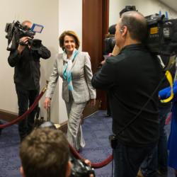 House Minority Leader Nancy Pelosi of Calif. arrives on Capitol Hill in Washington, Tuesday for  a House Democratic Caucus meeting  to discuss the Iran nuclear deal with Secretary of State John Kerry.