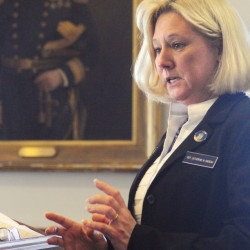 Rep. Catherine Nadeau, D-Winslow,  testifies about L.D. 1219 on Wednesday before the Legislature's Veterans and Legal Affairs Committee in the State House in Augusta.