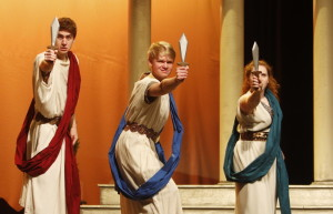 "Yarmouth High School students, from left, Karl Munroe, Colin Prato and Kayla Barton rehearse a scene from ""Scenes From Epic Proportions."" Jill Brady/Staff Photographer"