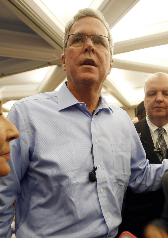 Former Florida Gov. Jeb Bush spoke to a standing-room-only crowd in New Hampshire on Friday.