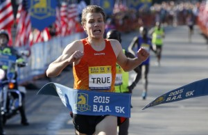 Ben True wins the men's division in the Boston Marathon 5k in Boston on Saturday.