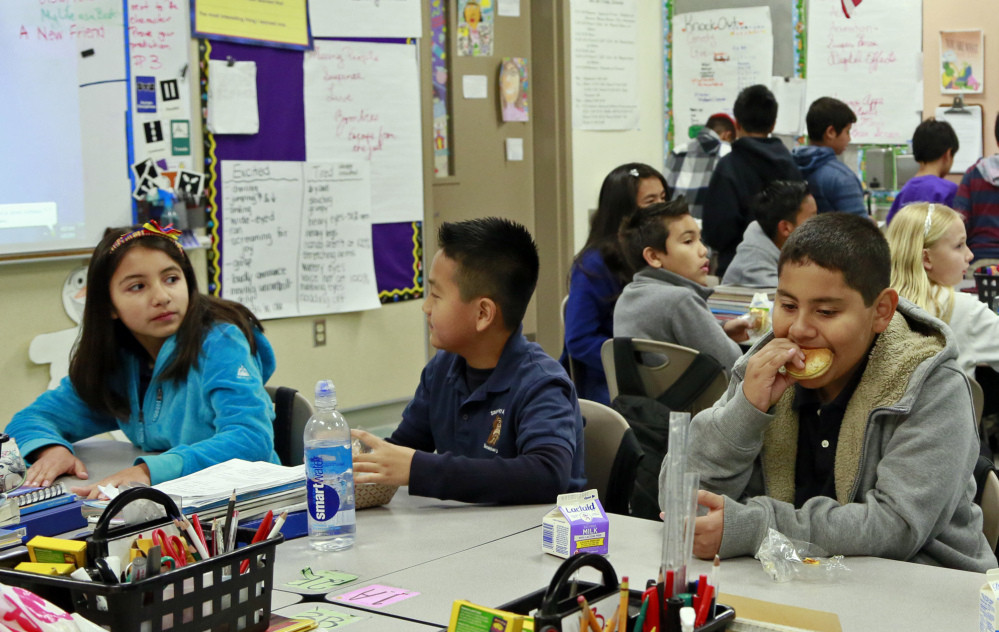 The number of breakfasts served in the nation's schools has doubled in the last two decades. The Stanley Mosk Elementary School, shown here, in Los Angeles is one of the schools with an expanding breakfast program.