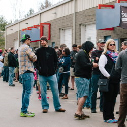 Customers line up outside Bissell Brothers Brewing Co. in Portland to buy cans of limited-edition Swish on Saturday.