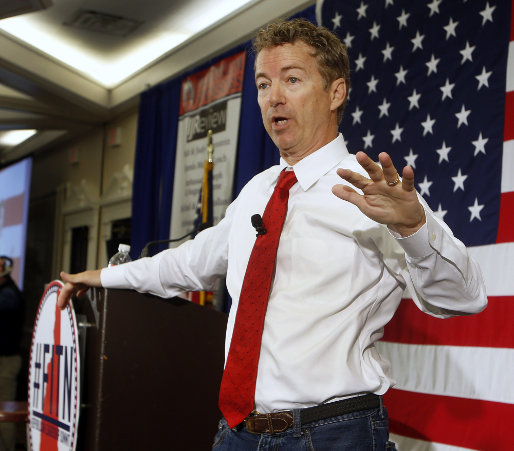 Republican presidential hopeful Sen. Rand Paul, R-Ky., speaks at the Republican Leadership Summit on Saturday in Nashua, N.H.
