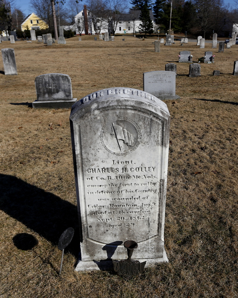 Union soldier Lt. Charles H. Colley of Maine may not be buried in Gray Village Cemetery, after all. New evidence suggests his remains never left Virginia, where he died.