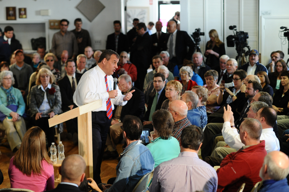 New Jersey Gov. Chris Christie hosts a Town Hall Meeting in Londonderry, N.H., April 15. The Associated Press
