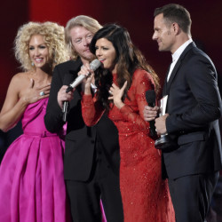 The members of Little Big Town accept the award for vocal group of the year at the Academy of Country Music Awards Sunday in Arlington, Texas.