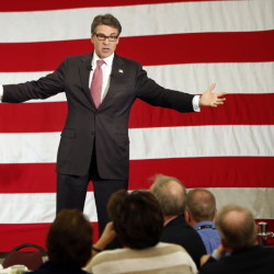 Former Texas Gov. Rick Perry in Nashua, N.H., on Friday works to stay in contention in the race for the White House.