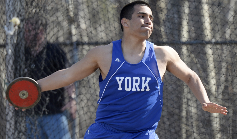 Alex Gutierrez, who played football and basketball for York, decided as a senior to throw the discus because he wanted to challenge himself with a new experience.