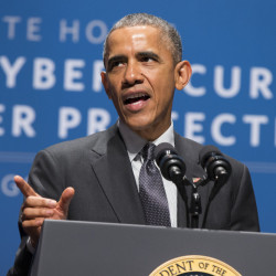 President Barack Obama speaks during a summit on cybersecurity and consumer protection in February at Stanford University in Palo Alto, Calif.