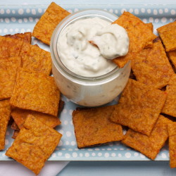 "Kimcheez-its with Blue Cheese Dip: Momfuku Milk Bar pastry chef Christina Tosi is a big fan of Cheez-Its and took on the personal challenge of creating a snack ""with a sense of scratch."""