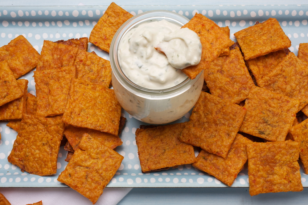 """Kimcheez-its with Blue Cheese Dip: Momfuku Milk Bar pastry chef Christina Tosi is a big fan of Cheez-Its and took on the personal challenge of creating a snack """"with a sense of scratch."""""""