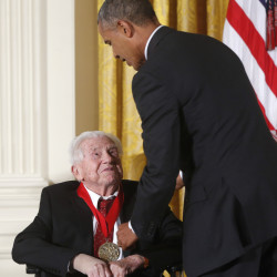 President Obama awards the 2013 National Humanities Medal to acclaimed literary critic, author and teacher M.H. Abrams at a ceremony in the White House in 2014.