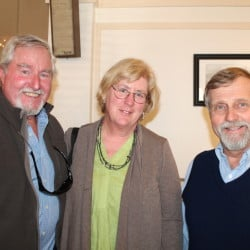 Gene McKenna and Jane Cleaves McKenna of Bowdoinham with Steve Heinz, the conservation chair of the Sebago Chapter of Trout Unlimited at the 36 Annual Conservation Event in Portland