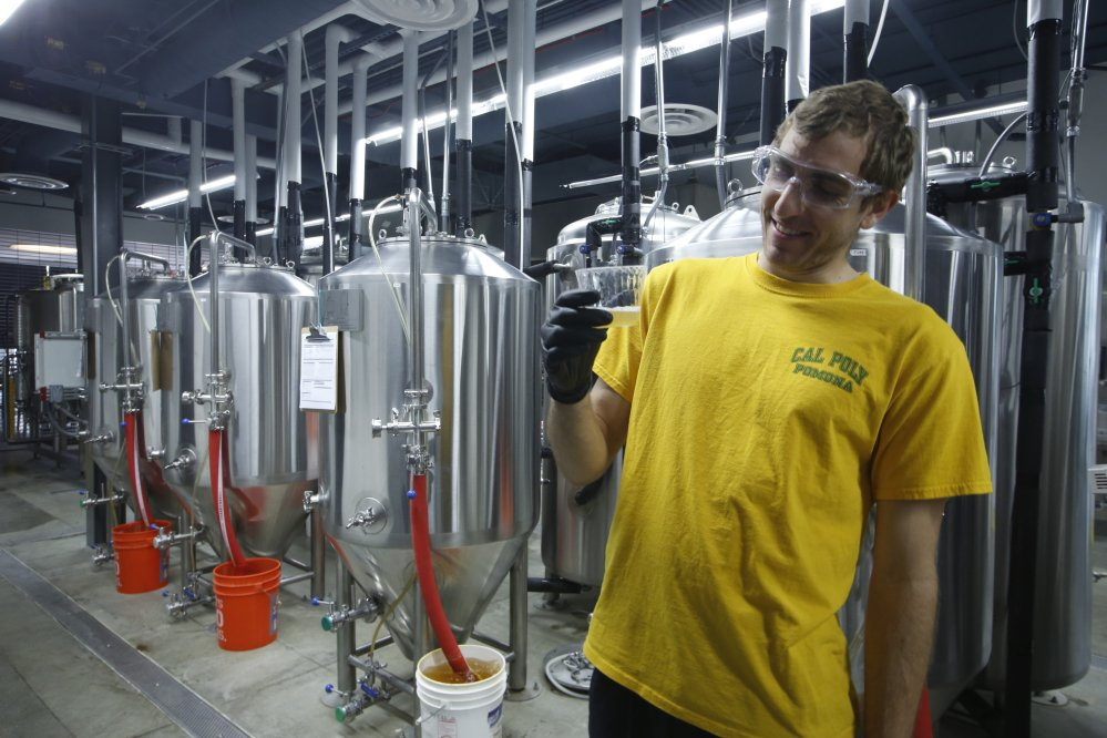 Assistant brewer and senior chemistry major Stephen Moser, 23, tastes a batch of freshly brewed beer at the recently opened Innovation Brew Works at the California State Polytechnic University, Pomona, in Pomona, Calif.
