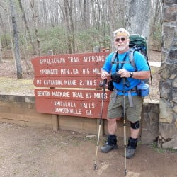 Carey Kish, who writes the Hiking in Maine column for the Maine Sunday Telegram, prepares for the start of the approach trail to Springer Mountain in Georgia.