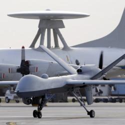A Predator B unmanned aircraft taxis at the Naval Air Station in Corpus Christi, Texas. After more deaths than expected occurred in a drone strike, troubling questions are raised about U.S. claim of accuracy for the drone program.