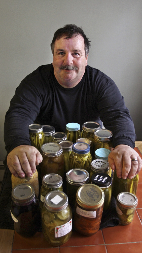 Myron LaPine makes fresh pickles and preserves at his home in Gloucester, Mass.