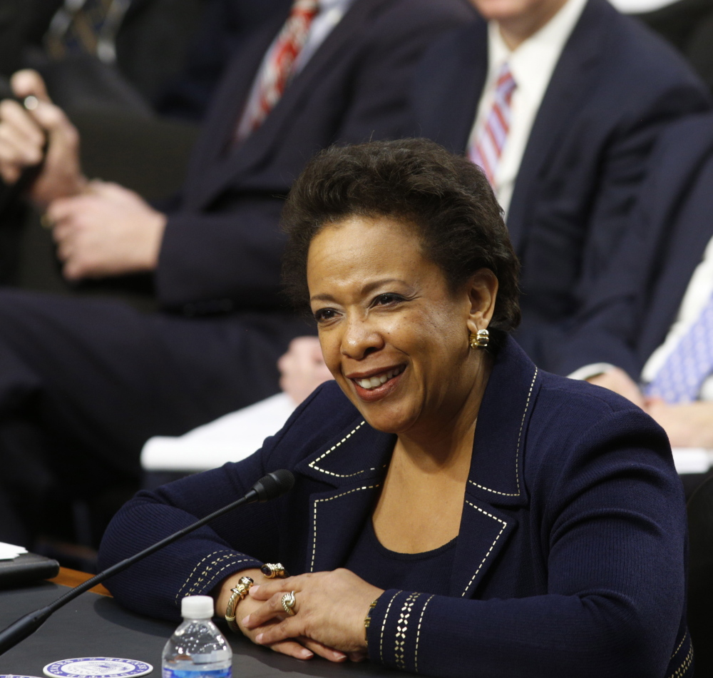 Loretta Lynch smiles at her Senate Judiciary Committee confirmation hearing in January. Lynch has 21 months to serve as attorney general following a long wait for Senate confirmation.