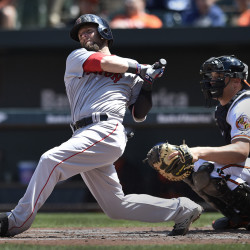 Red Sox second baseman Dustin Pedroia follows through on a double against the Baltimore Orioles in the second inning Sunday in Baltimore.