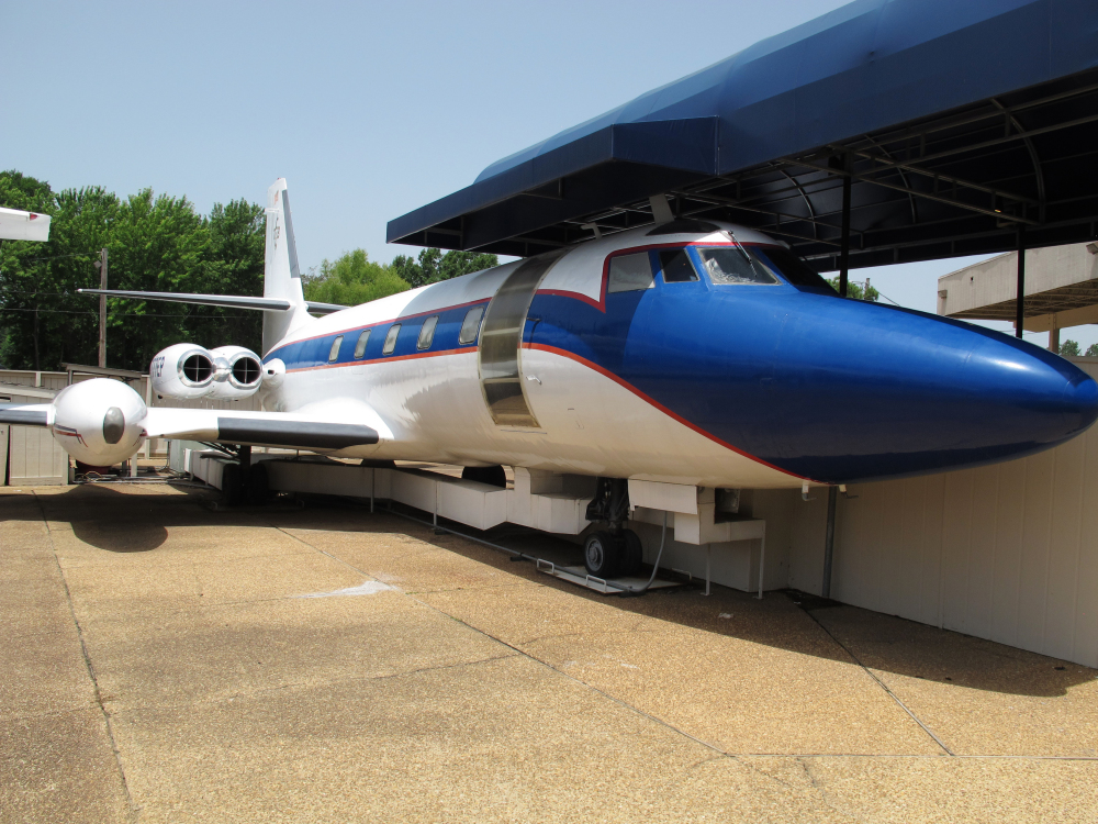 This July 1, 2014, file photo shows the Hound Dog II, one of two jets once owned by late singer Elvis Presley on display at Graceland in Memphis, Tenn.